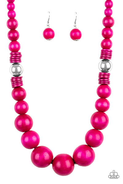 Panama Panorama Pink Paparazzi Necklace - JewelTonez Jewelry