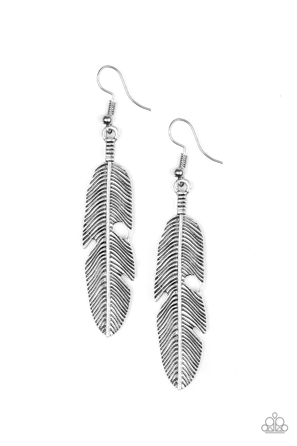 Feathers QUILL Fly Silver Antiqued Feather Earrings - Paparazzi Jewelry Earrings Earrings - Paparazzi Jewelry Earrings