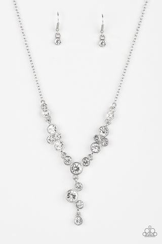 Five Star Starlet White Rhinestone Necklace - Paparazzi Accessories Necklace set - Paparazzi Accessories
