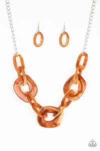 JewelTonez Courageously Chromatic Brown Necklace  - Paparazzi
