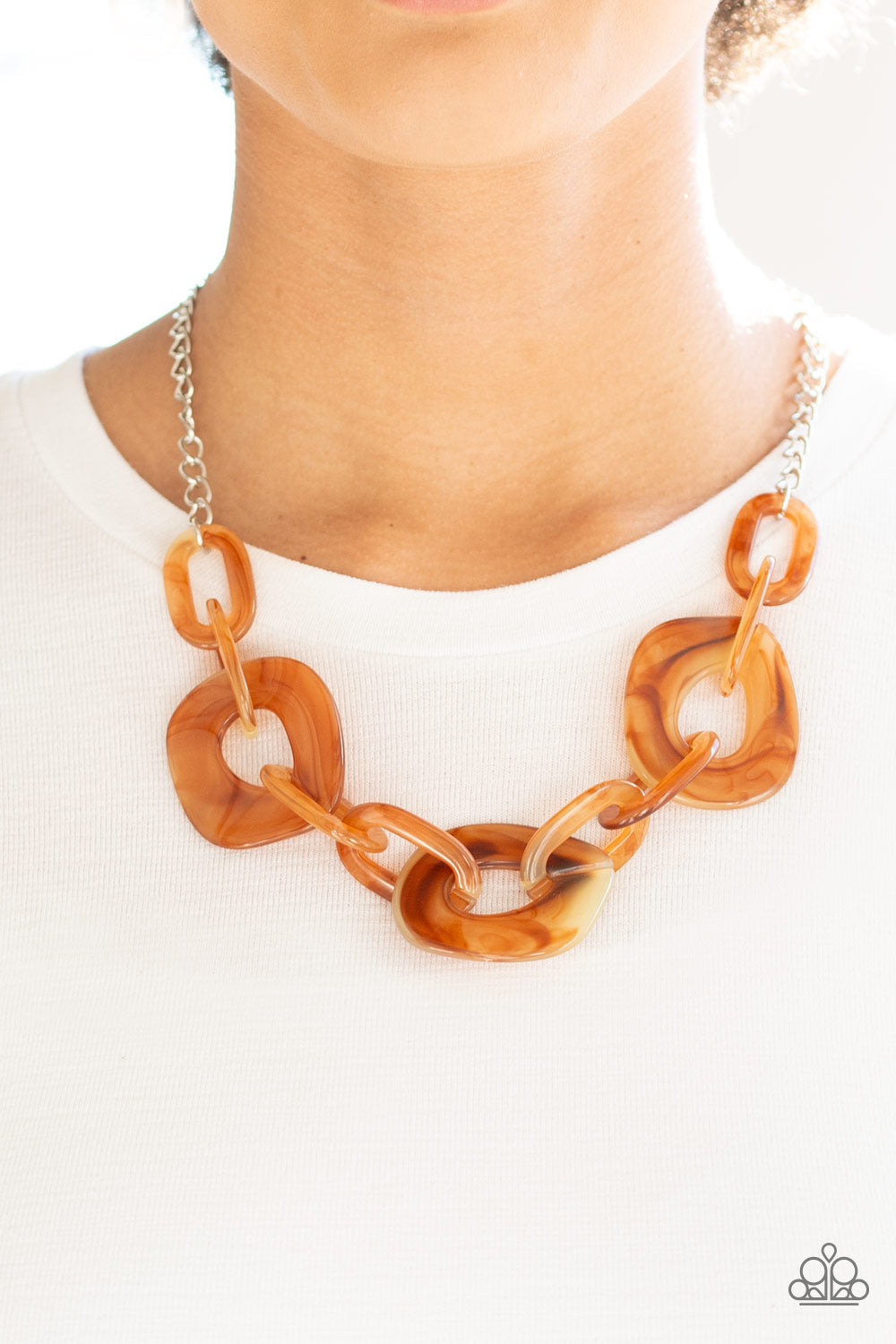 Courageously Chromatic Brown Paparazzi Necklace - JewelTonez Jewelry