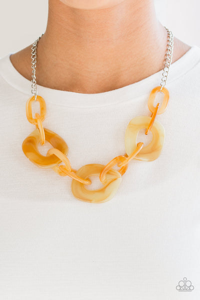Courageously Chromatic Yellow Marble Necklace - Paparazzi Accessories Necklace set - Paparazzi Accessories
