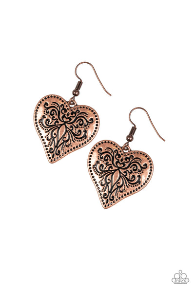 Western Heart Copper Paparazzi Earrings - JewelTonez Jewelry