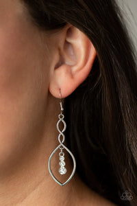 Timeless Twist White Paparazzi Earrings - JewelTonez Jewelry