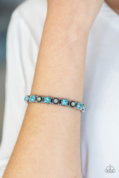 Heavy On The Sparkle Blue Bracelet - Paparazzi - JewelTonez Jewelry