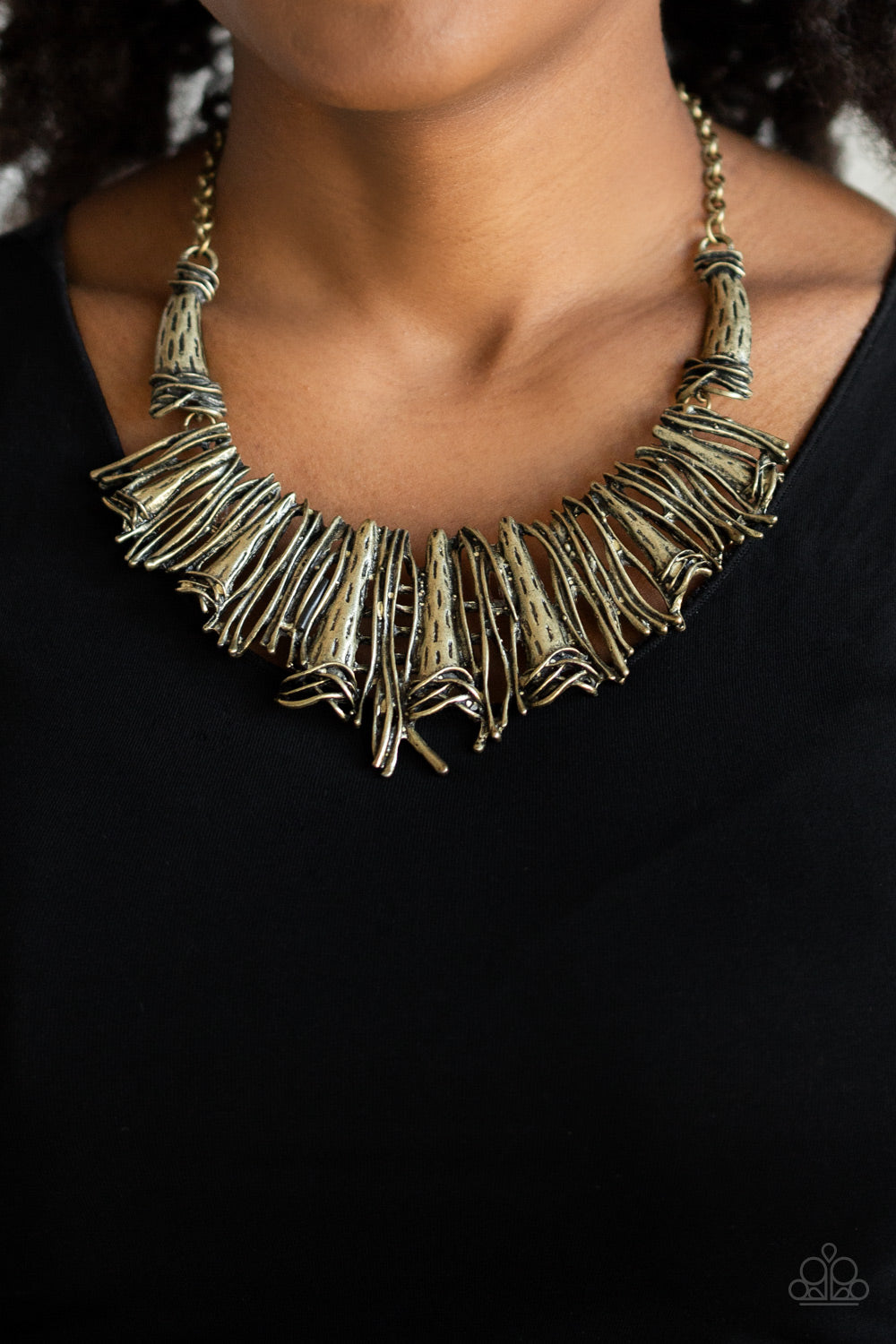 In The Mane Stream Brass Paparazzi Necklace - JewelTonez Jewelry
