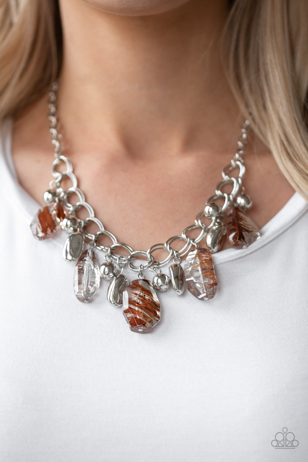 Chroma Drama Brown Paparazzi Necklace - JewelTonez Jewelry