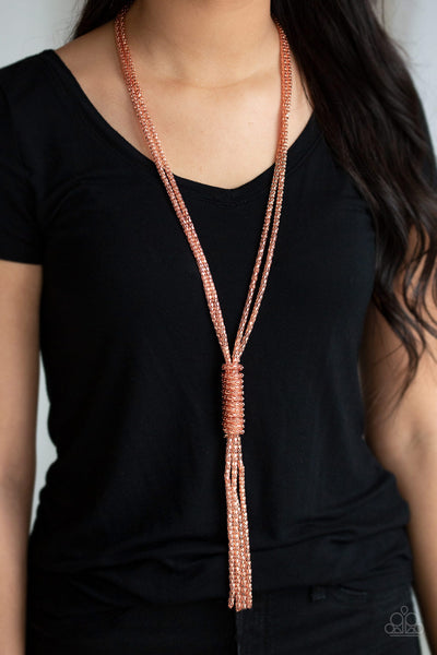 Boom Boom Knock You Out Copper Paparazzi Necklace - JewelTonez Jewelry