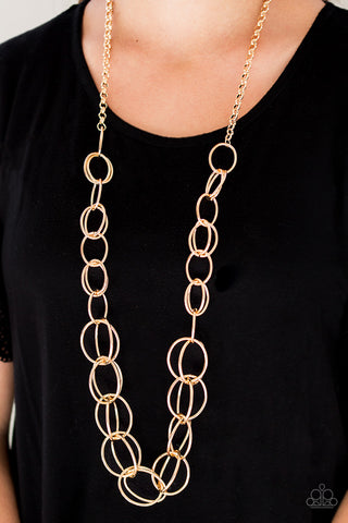 Elegantly Ensnared Gold Paparazzi Necklace - JewelTonez Jewelry