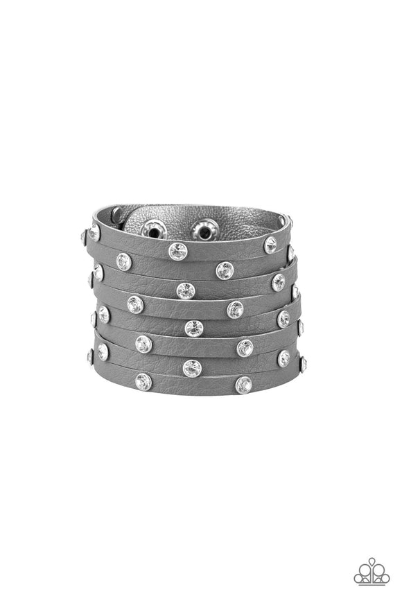 Sass Squad Silver Rhinestone Leather Urban Bracelet - Paparazzi Accessories Bracelet - Paparazzi Accessories