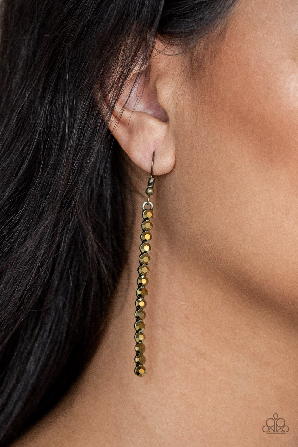 Grunge Meets Glamour Brass Paparazzi Earring - JewelTonez Jewelry