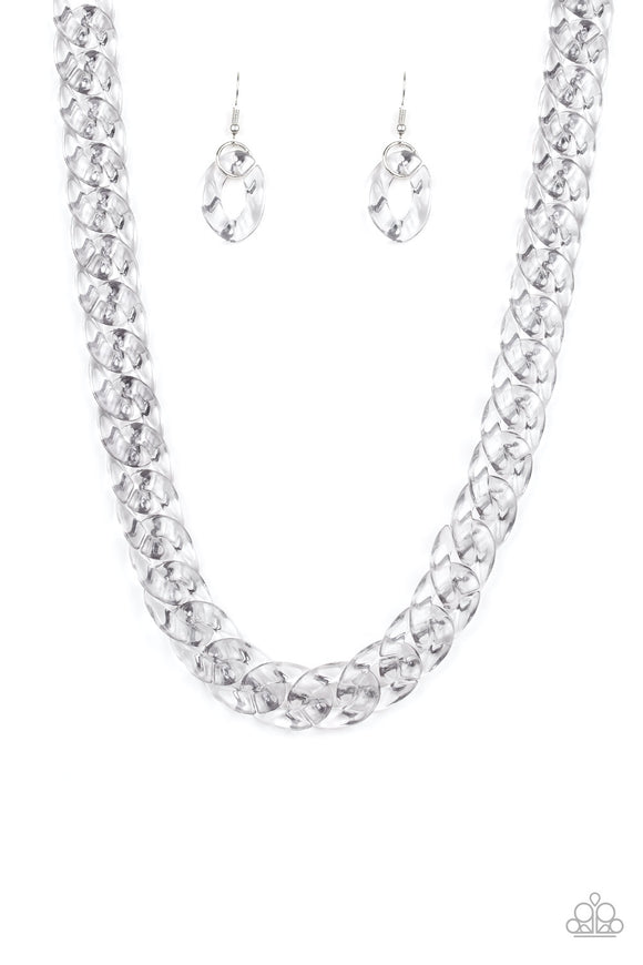 Put It On Ice Silver Necklaces - Paparazzi Accessories Necklace set - Paparazzi Accessories