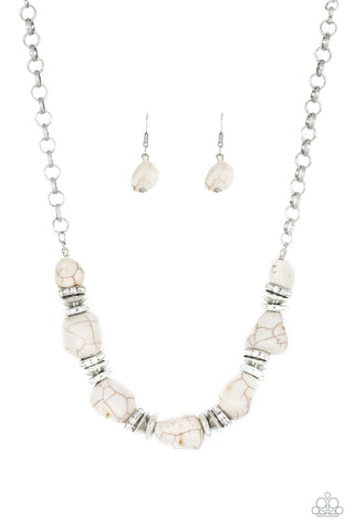 Stunningly Stone Age White Necklace - Paparazzi