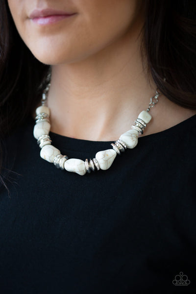 Stunningly Stone Age White Paparazzi Necklace - JewelTonez Jewelry