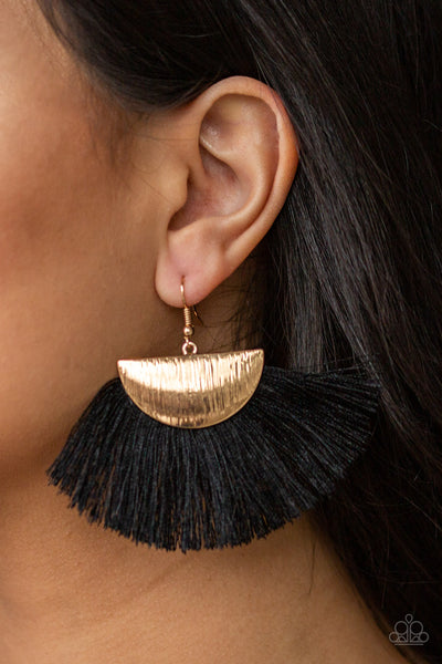 Fox Trap Gold with Black Fringe  Earrings - Paparazzi Accessories Earrings - Paparazzi Accessories