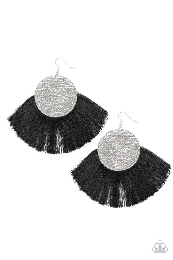 Foxtrot Fringe - Black Earrings - Paparazzi Jewelry Earrings Earrings - Paparazzi Jewelry Earrings