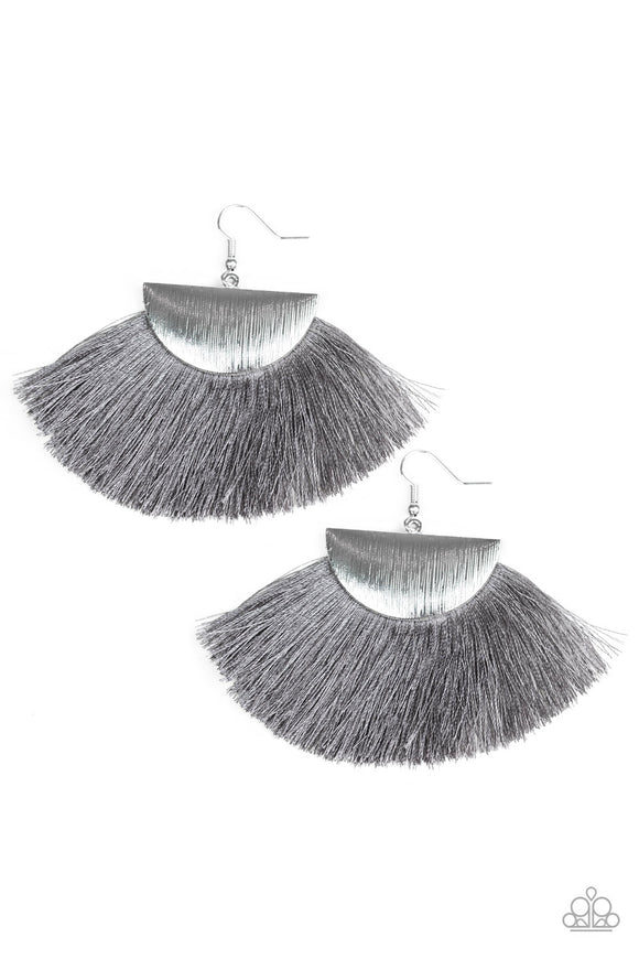 Fox Trap - Silver with Gray Fringe  Crescent Earrings - Paparazzi Jewelry Earrings Earrings - Paparazzi Jewelry Earrings