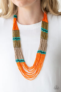 Rio Roamer Orange Paparazzi Necklace - JewelTonez Jewelry