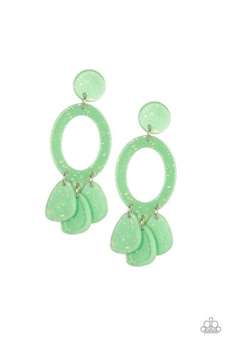 Sparkling Shores Green Earrings - Paparazzi