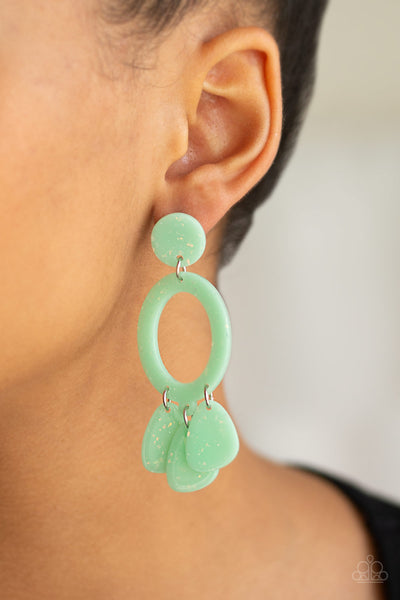 Sparkling Shores Green Paparazzi Earrings - JewelTonez Jewelry