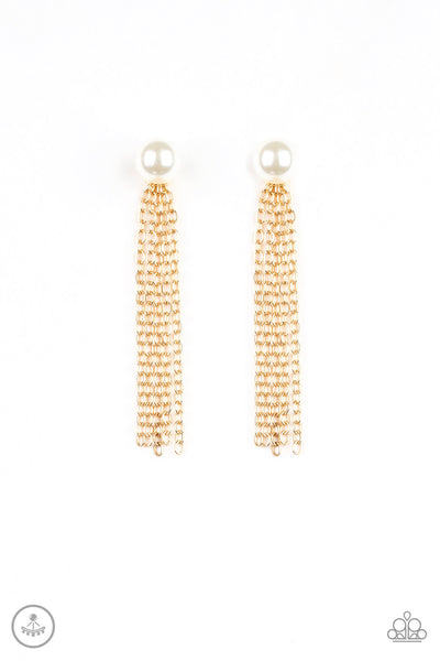 Rebel Refinement Gold Paparazzi Earrings - JewelTonez Jewelry