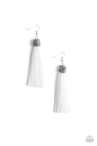 Make Room For Plume White Paparazzi Earrings - JewelTonez Jewelry