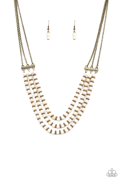 Terra Trails White Paparazzi Necklace - JewelTonez Jewelry