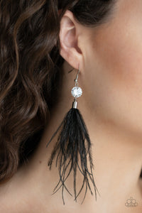 Feathered Flamboyance Black Paparazzi Earrings - JewelTonez Jewelry