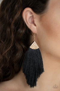 Tassel Tempo Gold Paparazzi Earrings - JewelTonez Jewelry