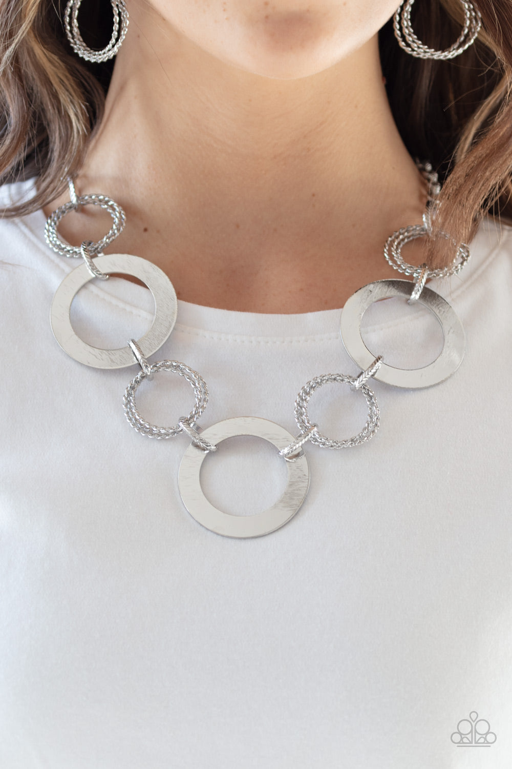 Ringed In Radiance Silver Paparazzi Necklace - JewelTonez Jewelry