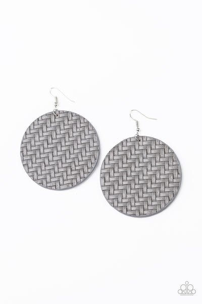 Plaited Plains Silver Paparazzi Earrings - JewelTonez Jewelry