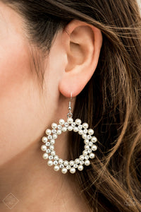 Pearly Poise White Paparazzi Earring - JewelTonez Jewelry