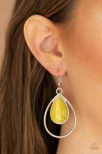 Color Me Cool Yellow Paparazzi Earrings - JewelTonez Jewelry