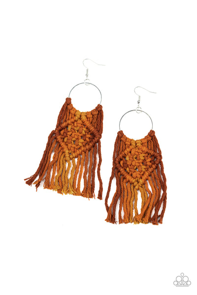 Macrame Rainbow Brown Paparazzi Earrings - JewelTonez Jewelry