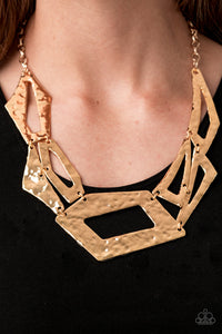 Break The Mold Gold Paparazzi Necklace - JewelTonez Jewelry