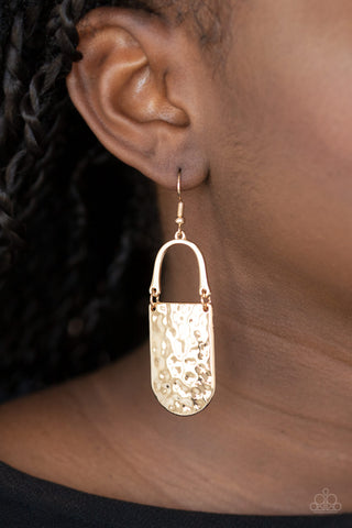 Resort Relic Gold Paparazzi Earrings - JewelTonez Jewelry