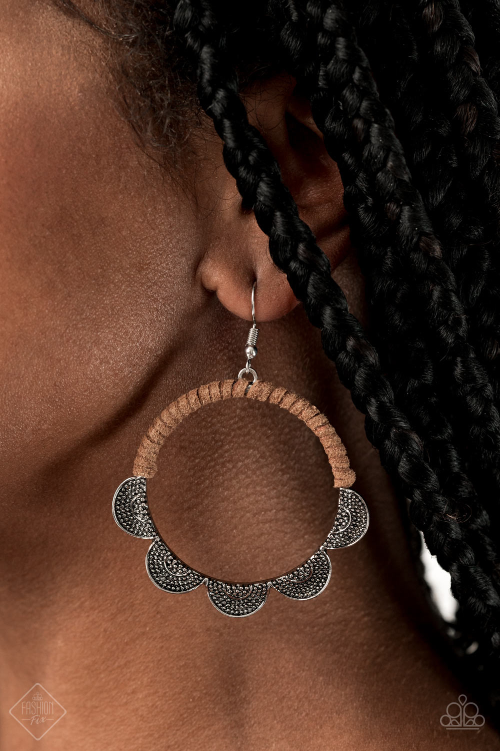 Tambourine Trend Brown Paparazzi Earrings - JewelTonez Jewelry