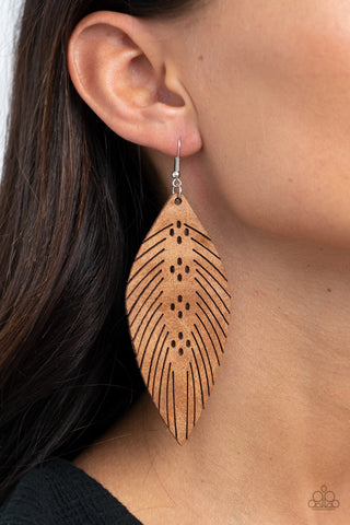 Wherever The Wind Takes Me Brown Paparazzi Earring