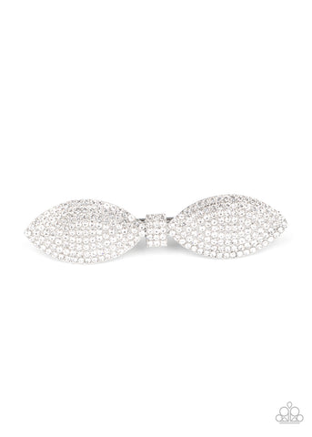 Mind-BOWing Sparkle White Paparazzi Hair Accessories - JewelTonez Jewelry