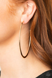 Flatlined Gold Paparazzi Hoop Earrings - JewelTonez Jewelry