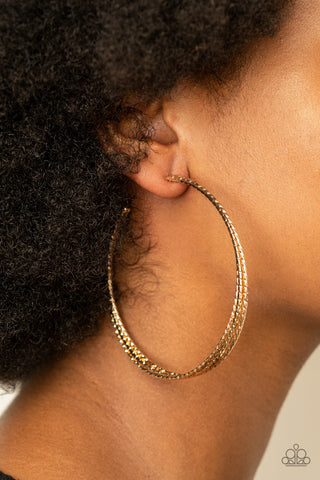 Watch and Learn Gold Paparazzi Earrings