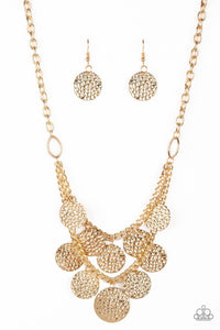 Works Every Chime Gold Fringe Necklace- Paparazzi Jewelry Earrings Necklace set - Paparazzi Jewelry Necklace set