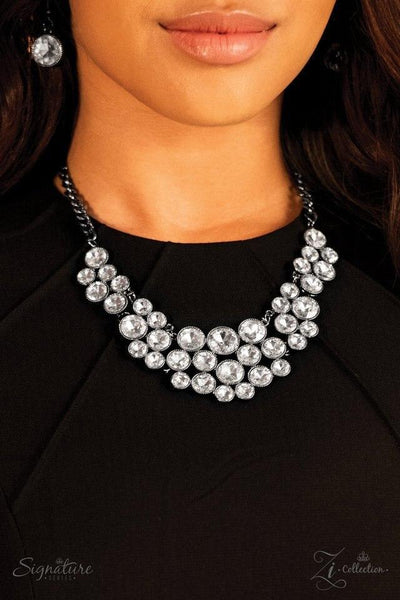 The Angela 2018 Paparazzi Zi Collection Gunmetal Necklace - JewelTonez Jewelry