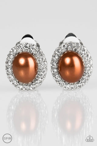 Romantically Regal - Brown (Clip-On) Earrings - Paparazzi Accessories
