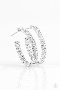 Debonair Dazzle White Rhinestone Hoop Earrings - Paparazzi Accessories Earrings - Paparazzi Accessories