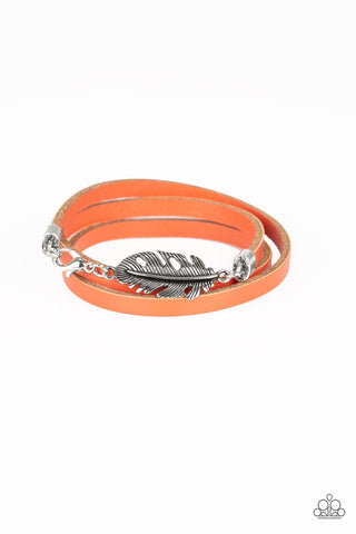 High Spirits Orange Urban Leather Bracelet - Paparazzi Accessories Bracelet - Paparazzi Accessories