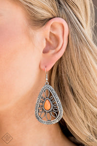 Floral Frill Orange Paparazzi Earrings - JewelTonez Jewelry