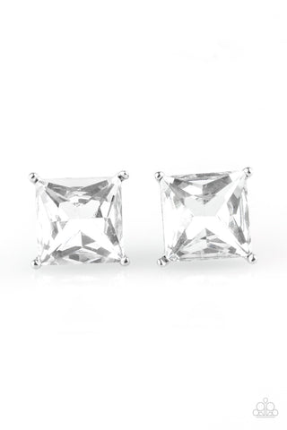 The Big Bang White Post Earring - Paparazzi Accessories