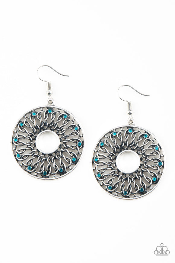 Malibu Musical Blue Rhinestone Earring - Paparazzi Accessories Earrings - Paparazzi Accessories