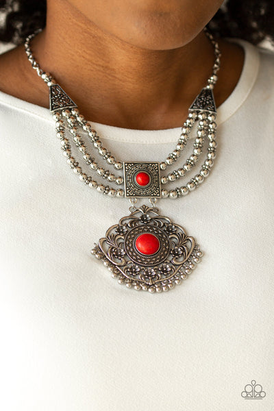 Santa Fe Solstice Red Paparazzi Necklace - JewelTonez Jewelry
